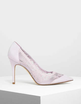 Charles & KeithCharles & Keith Embroidered Mesh Pointed Pumps