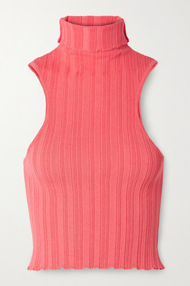 The Line By K Etta Ribbed-knit Turtleneck Top - Coral