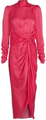 Zimmermann Draped High Neck Silk Dress