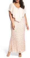 Marina Plus Size Women's Chiffon Capelet Sequin Lace Gown