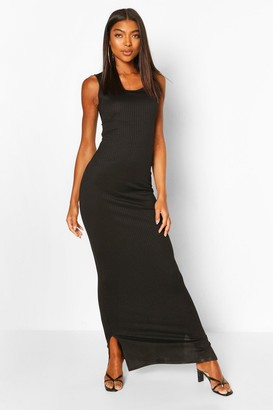 boohoo Tall Basic Rib Scoop Neck Maxi Dress