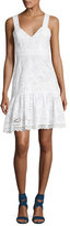 Saloni Zita Eyelet Cotton Short Dress, White