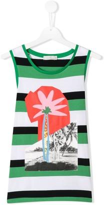 Stella Mccartney Kids Striped Palm Tree Vest Top