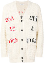 Valentino printed cable knit cardigan