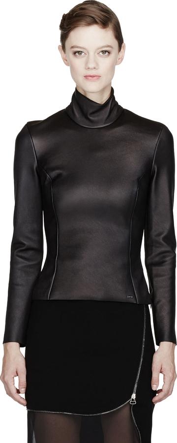 Altuzarra Black Leather Holland Turtleneck Blouse