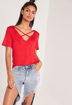 Missguided V Neck Cross Strap Front T Shirt Red