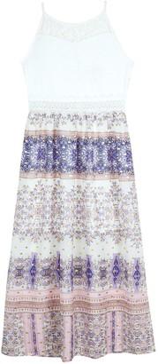Amy Byer Girls 7-16 & Plus Size IZ Illusion Crochet & Printed Maxi Dress