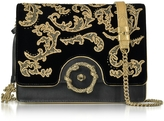 Roberto Cavalli Golden Arabesque Embroidered Black Velvet Shoulder Bag