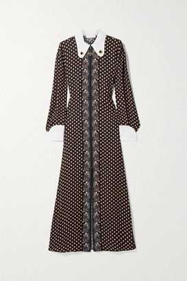 Chloé Embellished Silk-trimmed Printed Crepe Maxi Dress - Brown