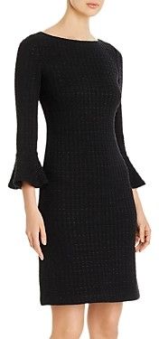 St. John Ribbon-Textured Windowpane Knit Dress