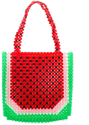 Susan Alexandra Red & Green Beaded Watermelon Tote, Never Carried
