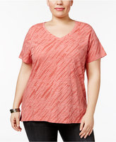 Style&Co. Style & Co Plus Size Cotton Snakeskin-Print T-Shirt, Only at Macy's