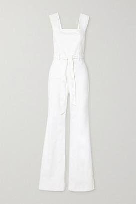 Alice + Olivia Gorgeous Belted Denim Jumpsuit - White