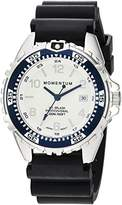 Momentum Women's Quartz Stainless Steel and Rubber Diving Watch, Color:Black (Model: 1M-DN11LU1B)