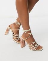Asos DESIGN Nourish strappy sandals with marble heel in bone