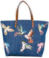 RED Valentino large bird print tote - women - Cotton - One Size