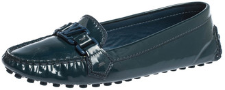 Louis Vuitton Blue Patent Leather Oxford Logo Loafers Size 37.5