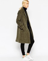 Asos Coat With Seam Detail In Hairy Wool