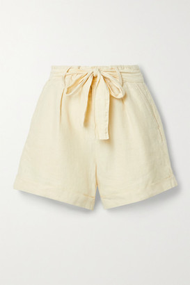 Alex Mill Avery Belted Pleated Linen Shorts - Off-white