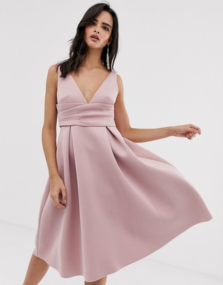 ASOS DESIGN prom midi dress with wrap waist detail