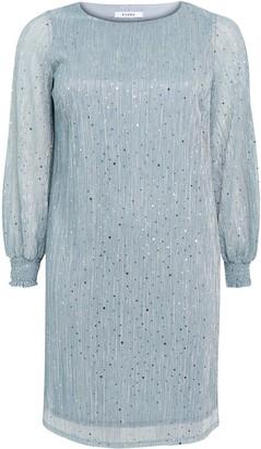 Evans Blue Sparkle Shirred Cuff Dress