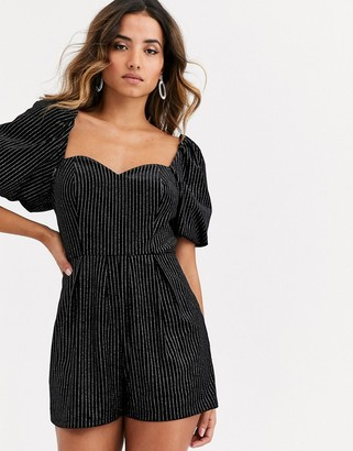 ASOS DESIGN glitter romper with puff sleeve