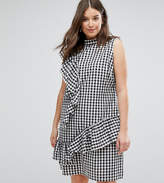 Asos Gingham Dress With Frill