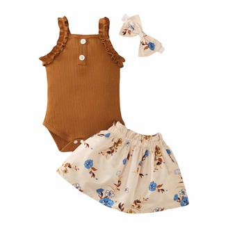 Zerototens Kids Clothes Set Zerototens Kids Baby Girls 3Pcs Summer Clothes Set 3-18 Months Toddler Newborn Sleeveless Suspender Romper Ribbed Tops Elastic Waist Floral Print Skirts Bowknot Headbands Infant Suits Outfits Khaki