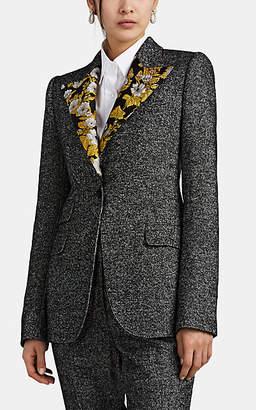 Dolce & Gabbana Women's Jacquard-Trimmed Wool-Blend Tweed Blazer - Black