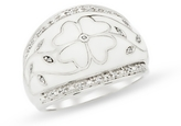White Enamel & Diamond Sterling Silver Floral Ring