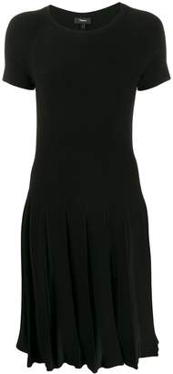 Theory pleated short-sleeved dress