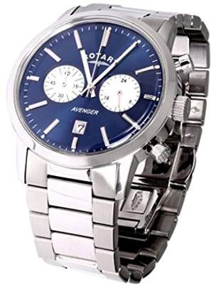 Rotary Men's Quartz Watch with Blue Dial Chronograph Display and Silver Stainless Steel Bracelet GB02730/05