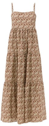 Matteau Scoop-back Floral-print Cotton Maxi Dress - Brown Print