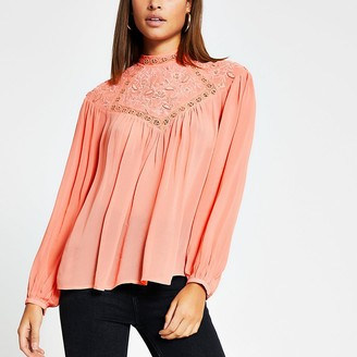 River Island Coral embroidered high neck blouse
