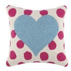 The Well Appointed House Blue Heart Pillow With Pink Polka Dots