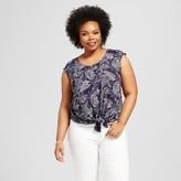 Merona Women's Plus Size Tie Front Top Navy Print