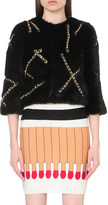 Moschino Chain-embellished faux-fur jacket