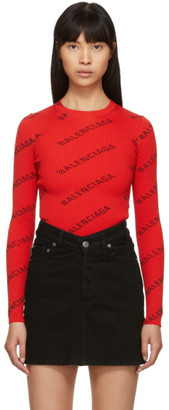 Balenciaga Red All Over Logo Crewneck Sweater