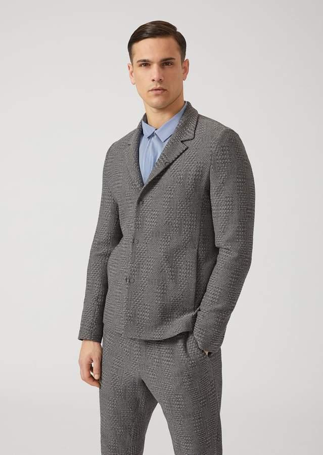 Emporio Armani Single-Breasted Crinkle-Effect Wool Jacket