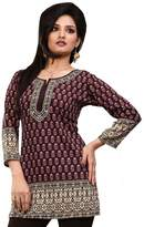 Maple Clothing Indian Kurti Top Tunic Printed Womens Blouse India Clothes (Black, L)