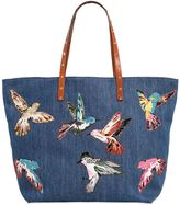 RED Valentino Denim Tote Bag W/ Bird Patches