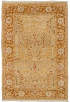 """Alegria Canora Grey One-of-a-Kind Hand-Knotted 4'1"""" x 6'1"""" Wool Light Khaki Area Rug Canora Grey"""