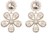 Natasha Accessories Glitz Faux Pearl Flower Drop Earrings