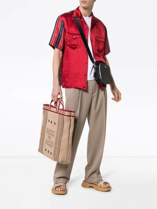 Gucci Chain Print Silk Bowling Shirt Red