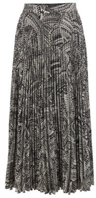 HUGO BOSS Midi Length Plisse Skirt With Collection Print - Patterned