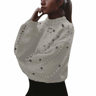 TOPEREUR Women Turtleneck Jumpers with Pearls Long Balloon Sleeves Solid Thick Cropped Knitted Sweater Pullover with Ribbed Trims White