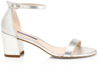 Stuart Weitzman Simple Metallic Leather Sandals