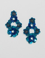 Glamorous Embellished 3d Floral Drop Earrings