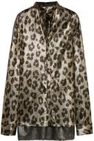 Haider Ackermann Oversized Leopard-print Silk-blend Lamé Shirt - Leopard print