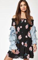La Hearts Off-The-Shoulder Smocked Dress